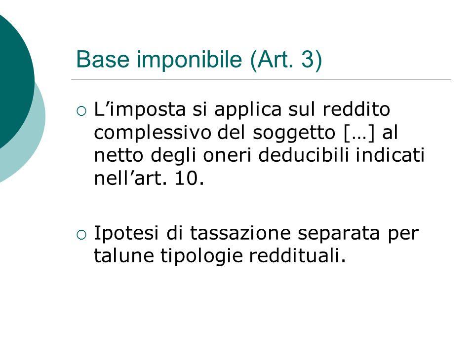 Base imponibile (Art. 3) L'imposta si applica sul reddito complessivo del soggetto […] al netto degli oneri deducibili indicati nell'art. 10.